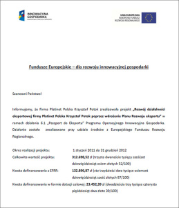Development of the export business of Platinet Polska Krzysztof Potok through implementation of the Export Development Plan