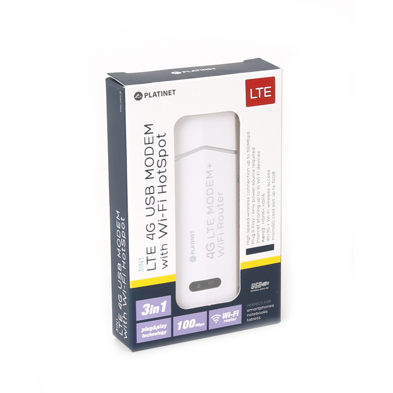 PLATINET USB 4G LTE MODEM 100Mbps with Wi-Fi router - Platinet